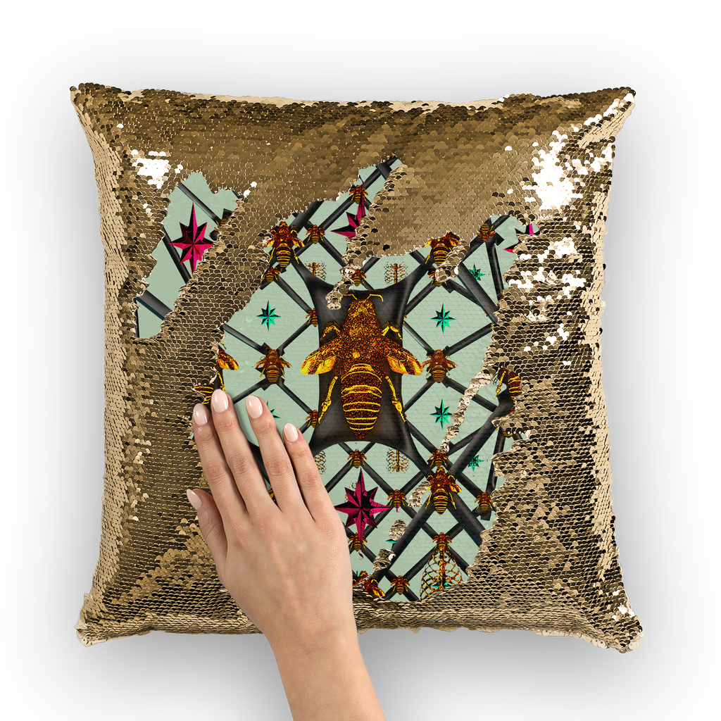 BLACK & GOLD SEQUIN PILLOW CASE-THROW PILLOW-Multi Color Honey BEE, RIBS, STARS PATTERN-Color PASTEL BLUE