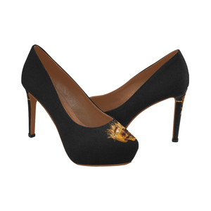 Dripping in Gold Skull & Cross- Women's French Gothic Heels in Solid Back to Black | Le Leanian™
