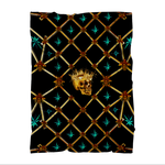 Skull and Teal Stars in back to black Premium Sublimation Adult Blanket