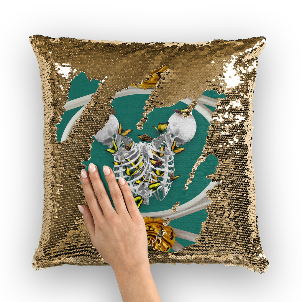Versailles Gilded Skull Divergence Golden Whispers- French Gothic Sequin Pillowcase or Throw Pillow in Jade Teal | Le Leanian™