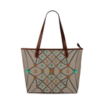 Bee Divergence Dark Ribs & Jade Stars- Classic French Gothic Tote Bag in Cocoa Clay | Le Leanian™
