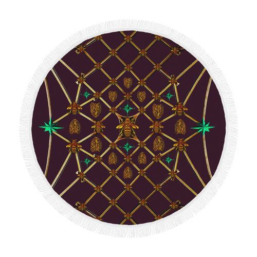Bee Divergence Gilded Ribs & Jade Stars- Circular French Gothic Medallion Beach Throw in Eggplant Wine | Le Leanian™