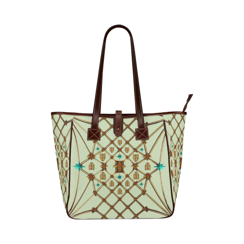 Gilded Bees & Ribs- Classic French Gothic Upscale Tote Bag in Pale Green | Le Leanian™