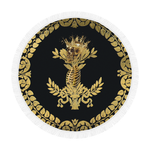 Circular BEACH THROW-Gold SKULL GOLD RIBS-GOLD WREATH- in Color BLACK