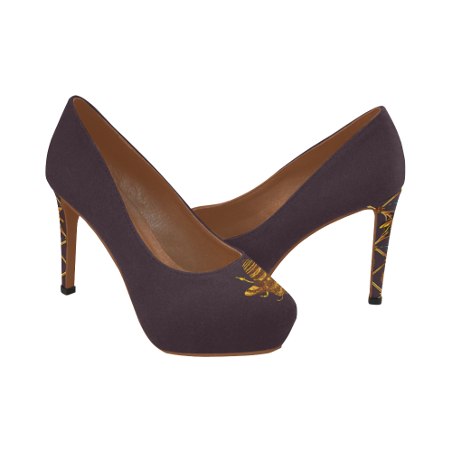 Gilded Bee- Women's French Gothic Heels in Muted Eggplant Wine | Le Leanian™