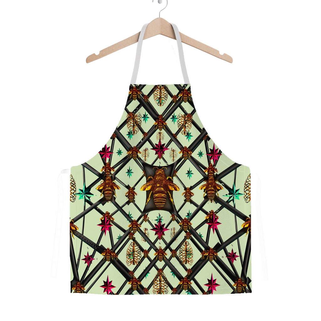 Bee Divergent Abstract- Classic French Gothic Apron in Pale Green | Le Leanian™