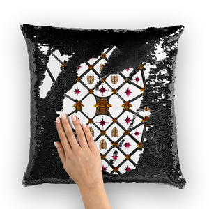 Bee Divergence Dark Ribs & Magenta Stars- French Gothic Sequin Pillowcase or Throw Pillow in White | Le Leanian™
