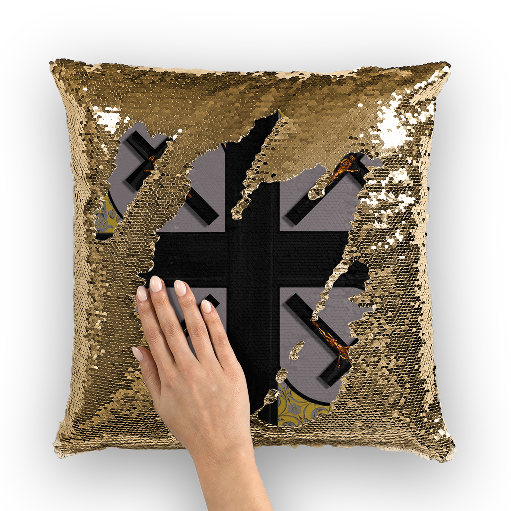 Crossroad Crucifix Gothic Sequin Pillowcase-Throw Pillow- Lavender Steel Purple