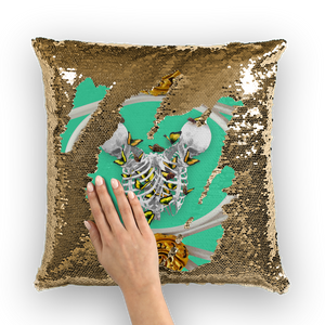 Versailles Siamese Skeletons with Gold Butterfly Rib Cage-Gold sequin Pillowcase-Blue Green Teal