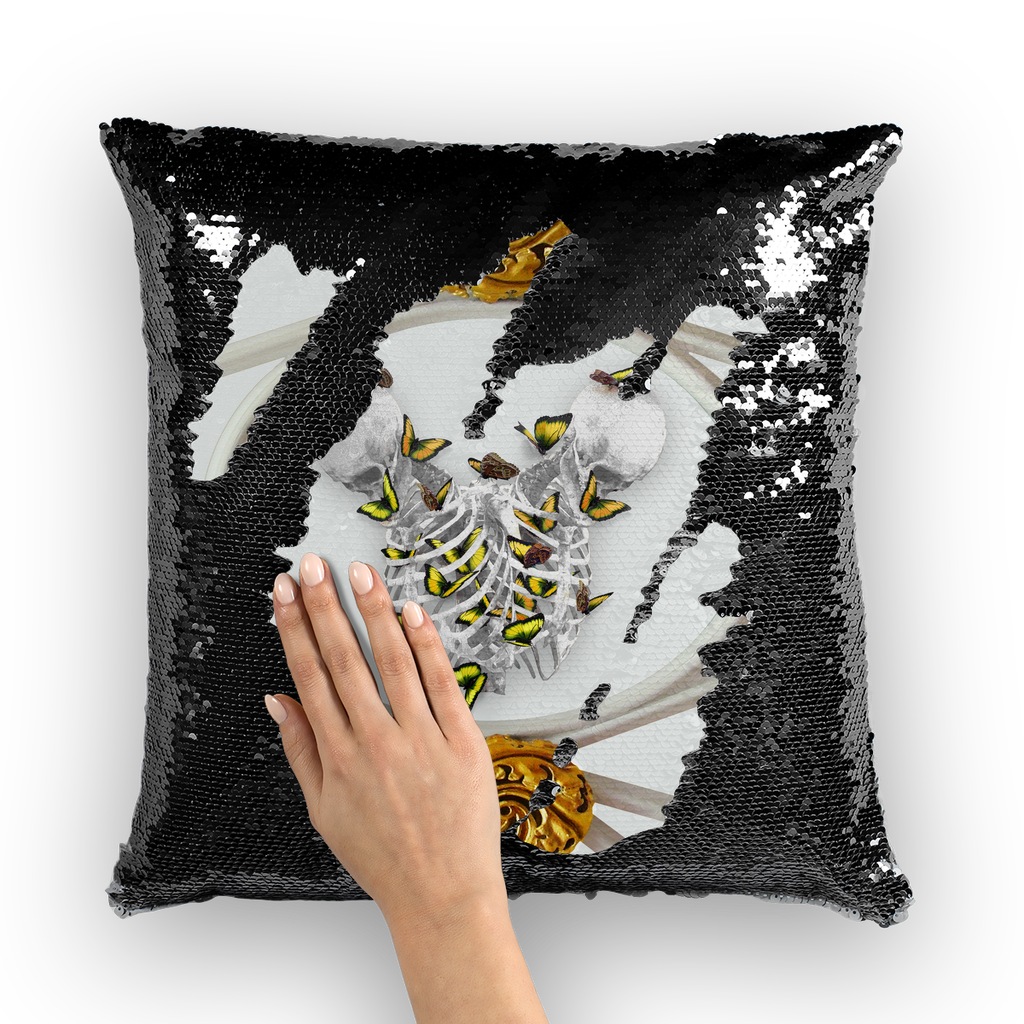 Versailles Gilded Skull Divergence Golden Whispers- French Gothic Sequin Pillowcase or Throw Pillow in Lightest Gray | Le Leanian™