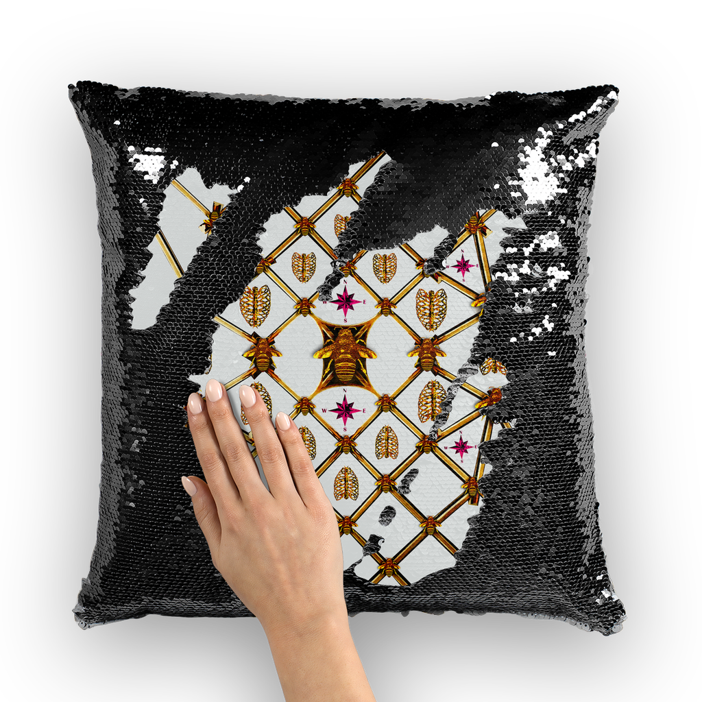 Bee Divergence Gilded Ribs & Magenta Stars- French Gothic Sequin Pillowcase or Throw Pillow in Lightest Gray | Le Leanian™