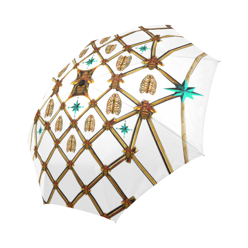 Bee Divergence Gilded Ribs & Teal Stars- Semi & Auto Foldable French Gothic Umbrella in White | Le Leanian™