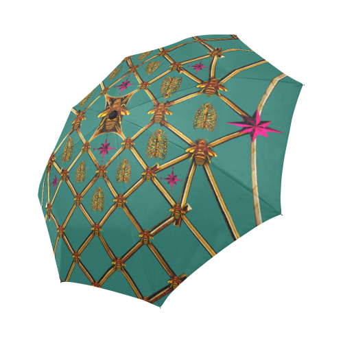 Bee Divergence Gilded Ribs & Magenta Stars- Semi & Auto Foldable French Gothic Umbrella in Jade | Le Leanian™