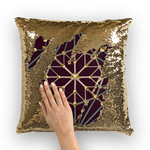 Cathedral Skull Pattern- Gold Sequin Pillow Case- Throw Pillow in Color Eggplant, Eggplant Wine, Wine Red