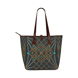 Gilded Bees & Ribs- Classic French Gothic Upscale Tote Bag in Midnight Teal | Le Leanian™
