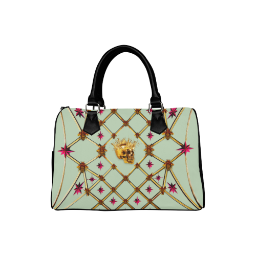 Gold Skull and Magenta Stars- Honey Bee Pattern- Classic Boston Handbag in Colors Pastel Blue and Black