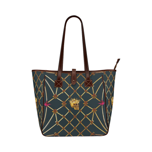 Skull & Honeycomb- Classic French Gothic Upscale Tote Bag in Midnight Teal | Le Leanian™