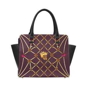 Skull and Honey Bee-Honeycomb Pattern-Magenta Stars- Classic Satchel Hand Bag in Color Eggplant Wine, Wine Red, Purple