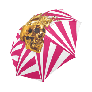 Cirque-Circus UMBRELLA-Geometric Stripes and Gold Skull-Color Bold Fuchsia PINK ON WHITE
