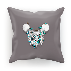 Siamese Skeletons with Teal Butterflies coming out The Rib cage-in Purple