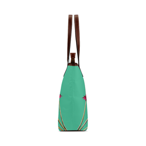 Skull & Magenta Stars- Classic French Gothic Tote Bag in Bold Pastel Jade | Le Leanian™