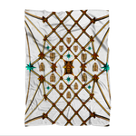 Gilded Bees & Jade Stars- Classic French Gothic Fleece Blanket in White | Le Leanian™