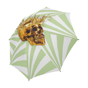 Cirque Gold Skull- Semi Auto & Auto Foldable French Gothic Umbrella in Light Green | Le Leanian™
