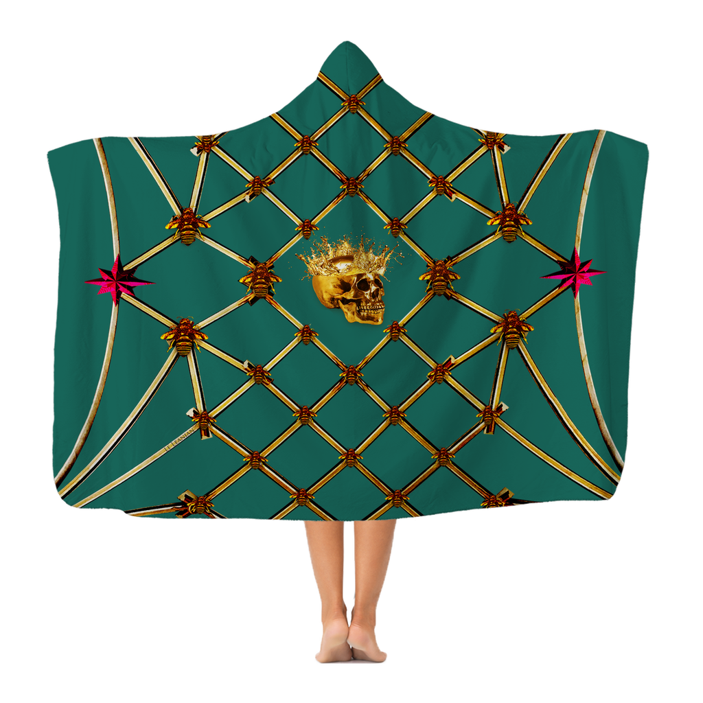 Gold Skull and Honey Bee- Magenta Stars- Classic Hooded Blanket in Jade Teal, Teal, Blue, Green