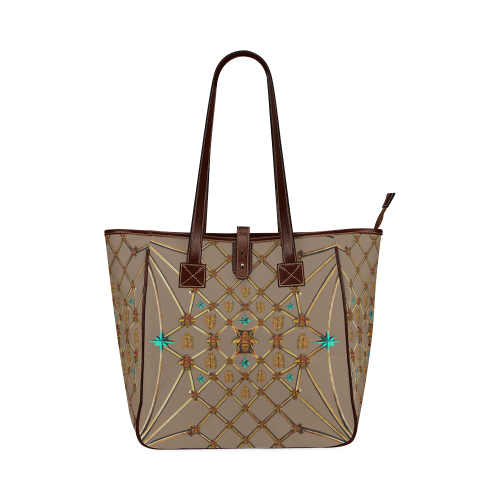 BEE Ribs & Teal STARS-Classic Shoulder TOTE-Color CAMEL, COCOA, TAN, BROWN