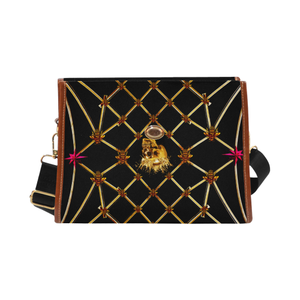 Skull and Honeycomb- Mini Brief Handbag in Back to Black | Le Leanian™