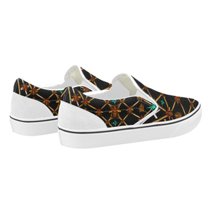 Bee Divergence Ribs & Teal Stars- Women's French Gothic Slip-On Sneakers in Back to Black | Le Leanian™