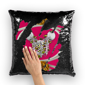 Versailles Gilded Skull Divergence Golden Whispers- French Gothic Sequin Pillowcase or Throw Pillow in Bold Fuchsia | Le Leanian™