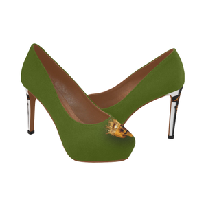 Dripping in Gold Skull & Cross- Women's French Gothic Heels in Bold Olive-Peep heel | Le Leanian­™