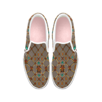 Bee Divergence Ribs & Teal Stars- Women's French Gothic Slip-On Sneakers in Cocoa Clay | Le Leanian™
