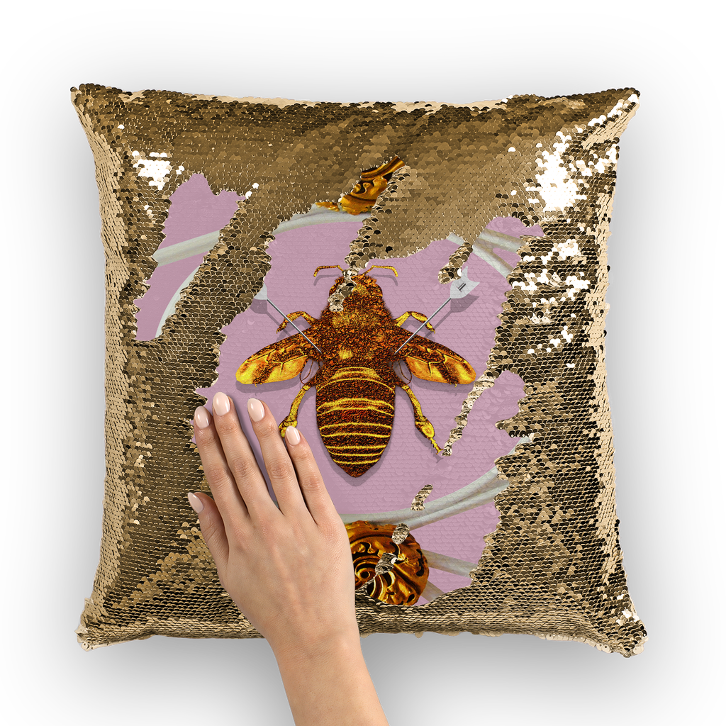 Versailles Queen Bee -French Gothic Sequin Pillow Case Throw Pillow- Light Lavender Pink