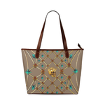 Skull and Teal Stars- Classic French Gothic Tote Bag in Neutral Camel | Le Leanian™