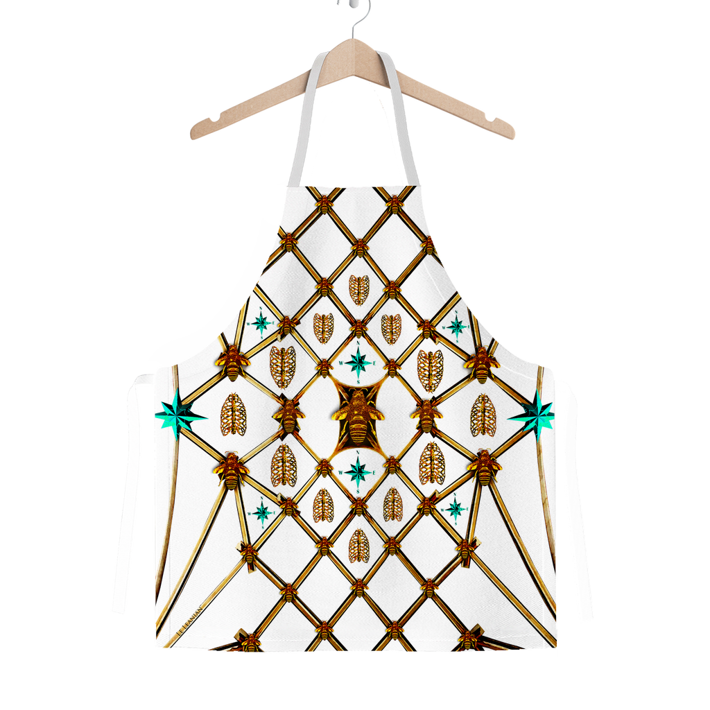 Gilded Ribs & Teal Stars- Classic French Gothic Apron in White | Le Leanian™