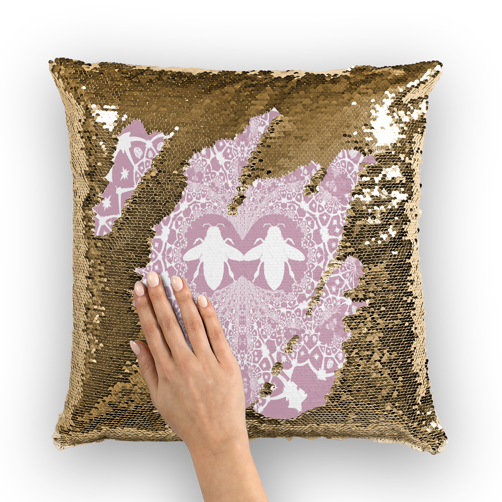 Sequin Gold & BLACK PILLOW CASE-Throw PILLOW-Baroque Bee Pattern-Color BLUSH PINK & WHITE