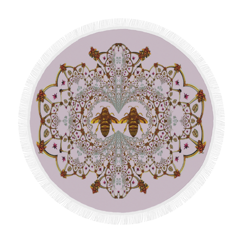 Baroque Honey Bee Extinction- Circular French Gothic Medallion Throw in Nouveau Blush Taupe | Le Leanian™