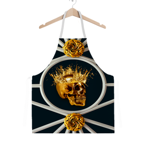 Versailles Golden Skull- Classic French Gothic Apron in Midnight Teal | Le Leanian™