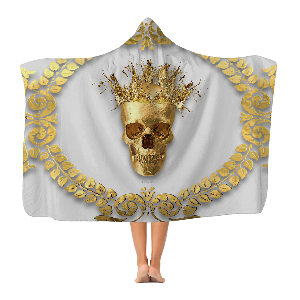 Polar Fleece Blanket-GOLD SKULL & CROWN-GOLD WREATH-Color Light GRAY