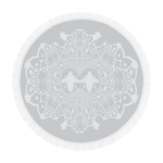 Circular Throw-Baroque Honey BEE Relief Pattern-Color GRAY & WHITE