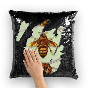 Versailles Bee Divergent- French Gothic Sequin Pillowcase or Throw Pillow in Pale Green | Le Leanian™