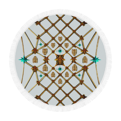 Bee Divergence Gilded Ribs & Teal Stars- Circular French Gothic Medallion Beach Throw in Lightest Gray |  Le Leanian™