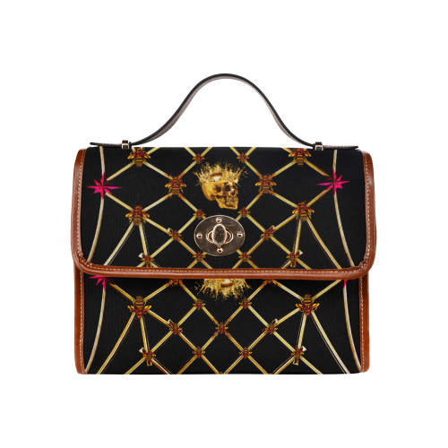 Skull and Honey Bee-Magenta Stars- Clutch Handbag Shoulder Bag in Color Black and Tan