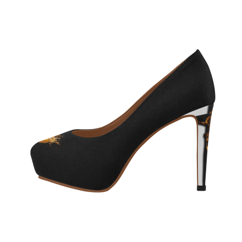 Dripping in Gold Skull & Cross- Women's French Gothic Heels in Black-Peep Heel | Le Leanian™