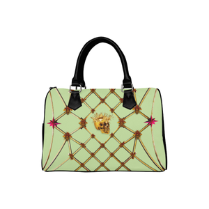 Gold Skull and Magenta Stars- Honey Bee Pattern- Classic Boston Handbag in Colors Pale Green and Black