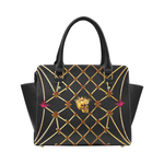 Skull and Honey Bee-Honeycomb Pattern-Magenta Stars- Classic Satchel Hand Bag in Color Black