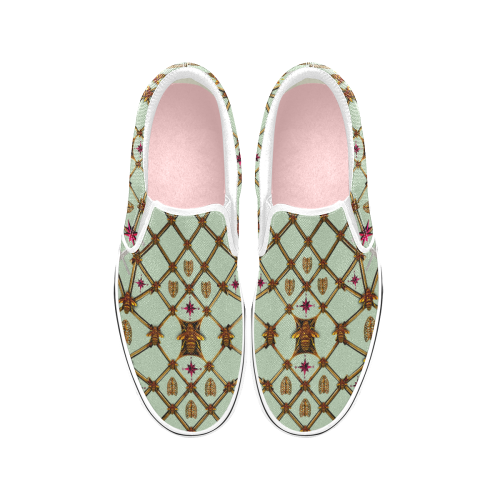 Women's Slip-On-VANS Style-OXFORD-Sneakers-BEES, RIBS & STARS PATTERN-Color PASTEL BLUE