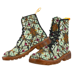 Women's Marten Style Military Boot-ABSTRACT MULTI COLOR HONEY BEE and RIBS PATTERN-Color PASTEL GREEN